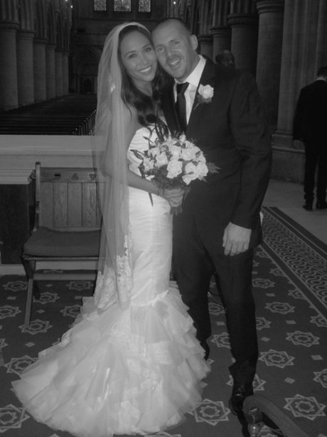 Myleene Klass in her wedding dress and Graham Quinn on their wedding day