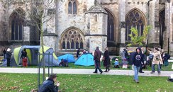 tents outside exeter cathedral. occupy exeter