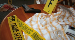 Specially set-up crime scene for students