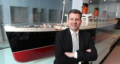 Queen Mary scale model with Cllr John Hannides