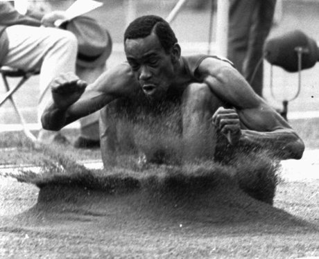 Bob Beamon breaks the long jump record
