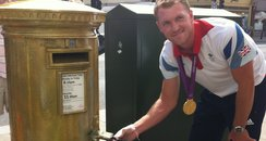 Alex Gregory paints Henley post box gold