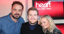 Jamies Corden with Jamie Theakston & Emma Bunton