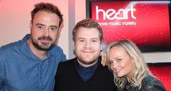 Jamies Corden with Jamie Theakston & Emma Bunton