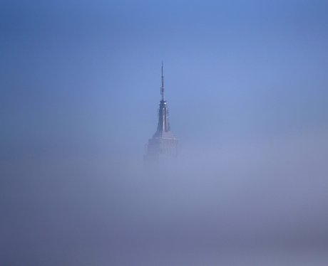 The Empire State Building in New York in the fog