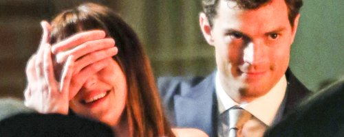 Jamie Dornan and Dakota Johnson on set 50 Shades o