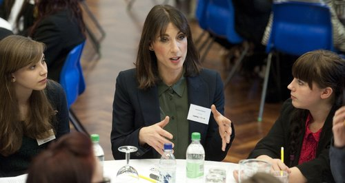 Samantha Cameron talks to students