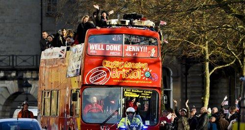 Jenny Jones arrives in Bristol on open-top bus tou