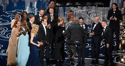 Steve McQueen at the Oscars 2014 on stage