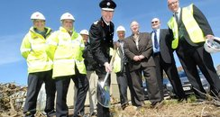 Cornwall's Chief Fire Officer, cuts the turf at t