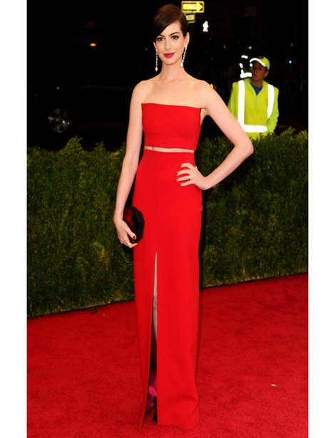 Anne Hathaway in a red gown on the red carpet