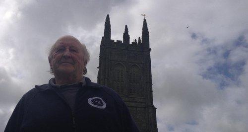 Barry Wilcox surveys Probus church