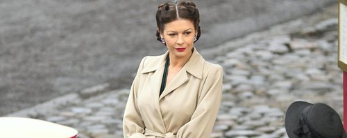 Catherine Zeta Jone on set for Dads Army