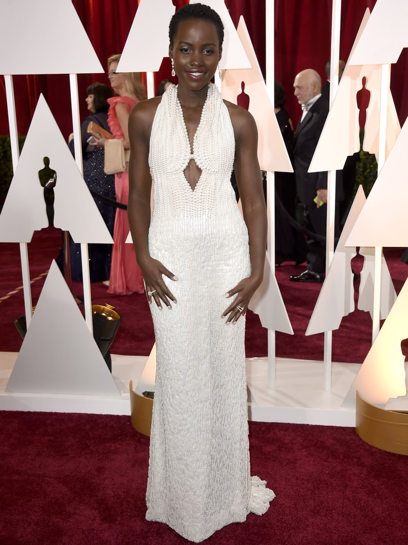Lupita Nyong'o in Calvin Klein dress Oscars 2015