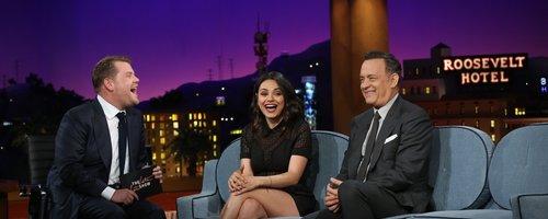 James Corden with Mila Kunis and Tom Hanks