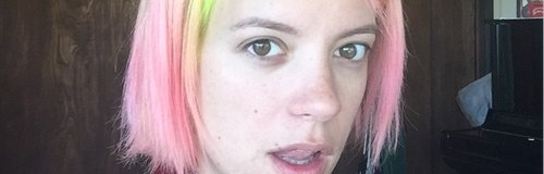 Lily Allen with green and pink hair