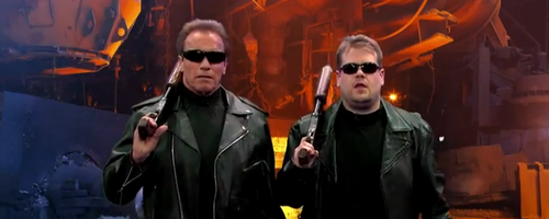 James Corden and Arnold Schwarzenegger on 'The Lat