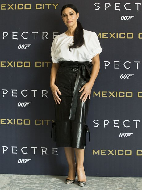 Monica Bellucci in a leather skirt