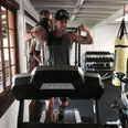 Chris Hemsworth exercising with his son