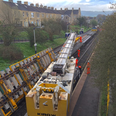 Network Rail photo of track being lowered into pla