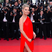 7. Kate Moss stuns in a daring split red gown at Cannes.
