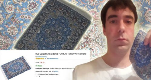 MAN BUYS RUG/CARPET CANVAS