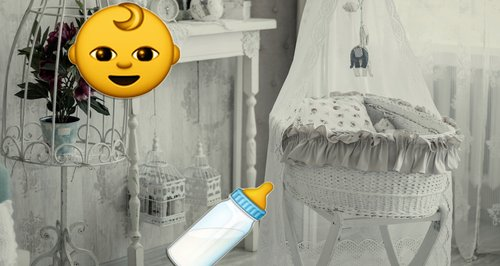 Traditional baby cot with emojis