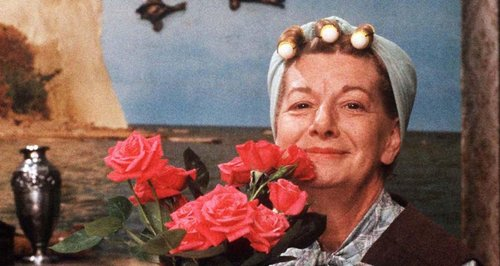 Hilda Ogden from Coronation Street and flying duck