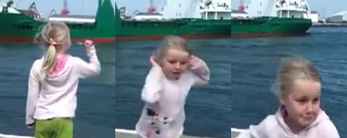little girl scared by boat horn