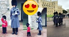 Little boy costume queen's guard salute photo vide