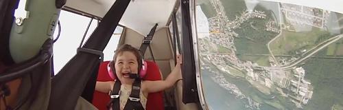 Girl plane flying