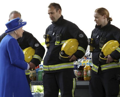 Queen Elizabeth II meets firefighters