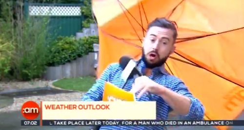 Watch Hilarious Moment Weatherman Is BLOWN AWAY On