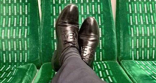 Feet On Train Seats
